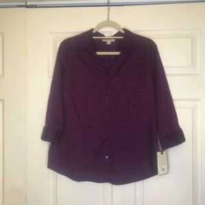 Plum colored button up top